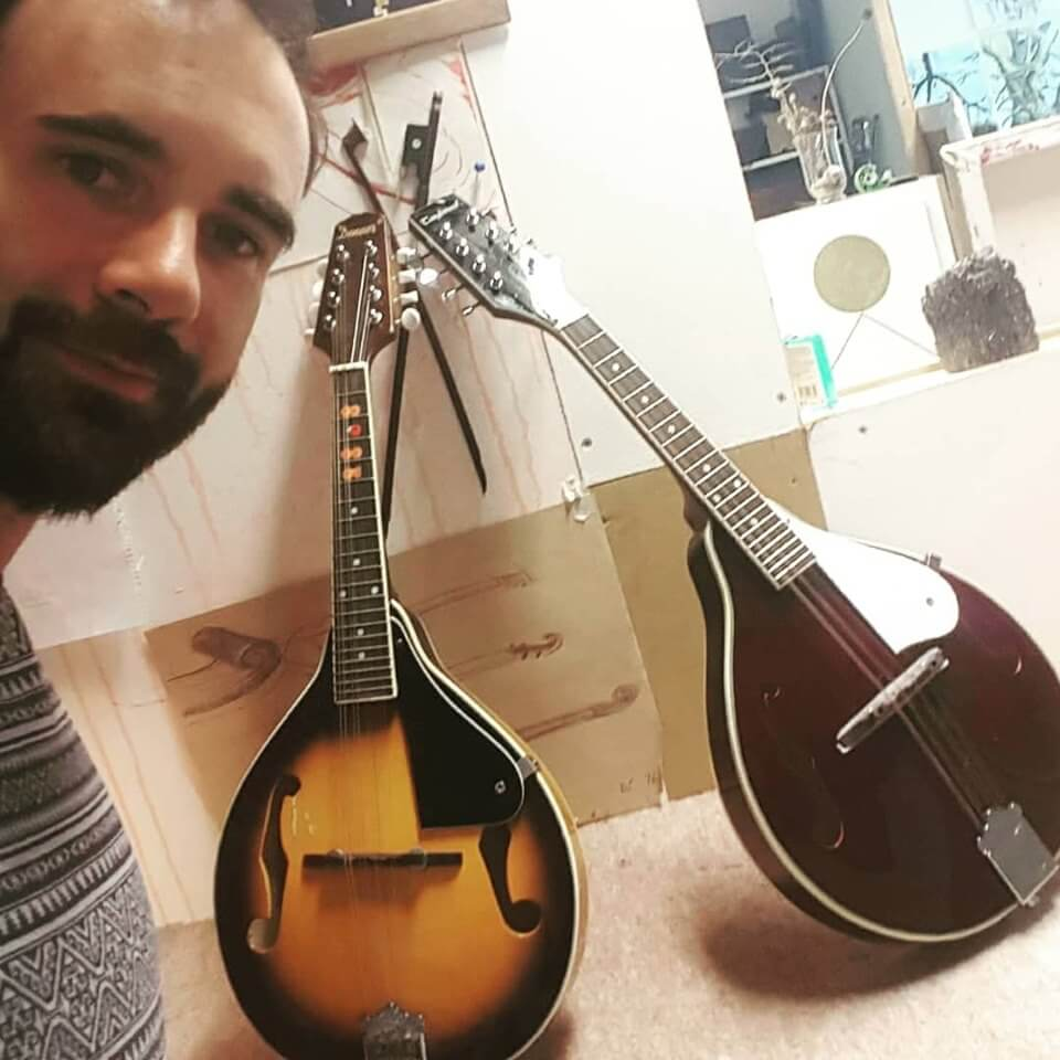 Cork Guitars - Brian with two mandolins